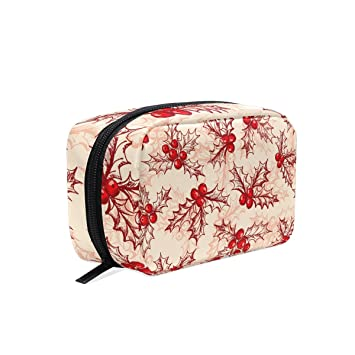 fae9390a638a Amazon.com : MAPOLO Holly Berry Handy Cosmetic Pouch Clutch Makeup ...