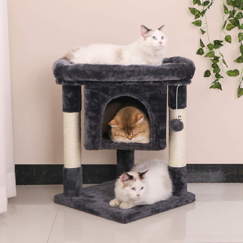 Amazon.com: BEWISHOME - Casa para gatos con postes de sisal ...
