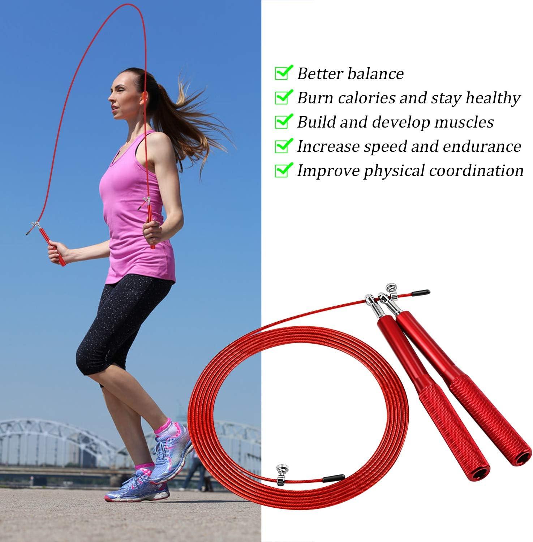 Sooair Springseil Aluminium Springseil Erwachsene f/ür Fitness Ausdauer Abnehmen Speed Rope Springseil 3 Meter Lang Einstellbar