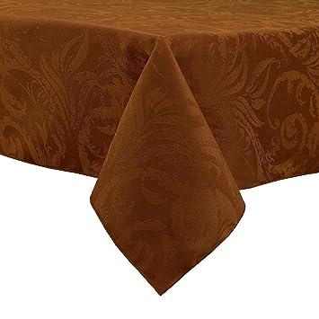 Autumn Bronze Damask Scroll Thanksgiving Tablecloth 60x104 Rectangle