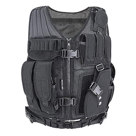 MGFLASHFORCE Tactical Vest Adjustable M-4XL Airsoft Vest Breathable  Military Combat Black Training Vest for 1c404adcd06