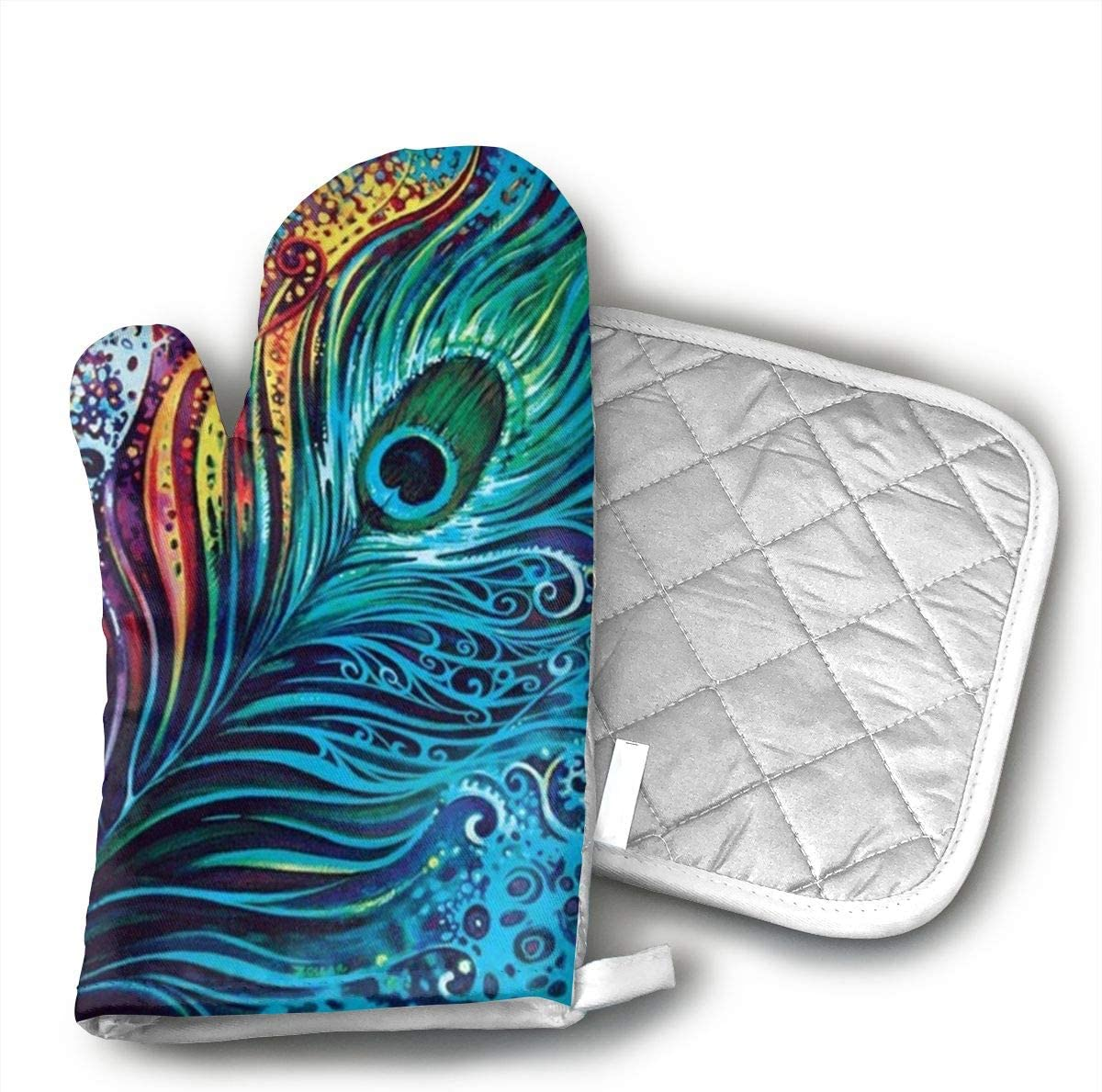 JFNNRUOP Amazing Peacock Oven Mitts,with Potholders Oven Gloves,Insulated Quilted Cotton Potholders