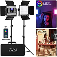 GVM RGB Led Video Light, 2PCS Video Lighting Kit with APP Control, 40W Photography Lighting Led Panel Light with 8 Kinds…