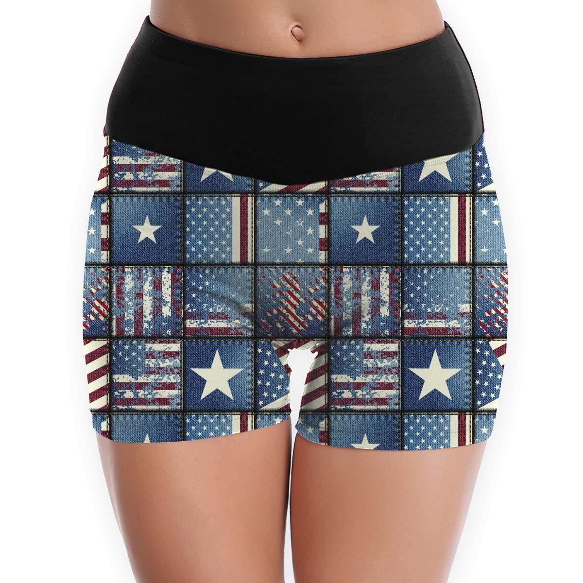 LDGT@DU Womens Yoga Shorts USA Flags Pattern Athletic Training Shorts
