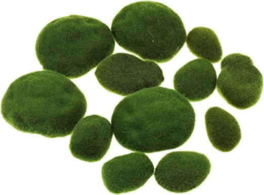 Faux Stones Green Moss Balls for DIY Floral Arrangements Crafting Ornament E.YOMOQGG 30Pcs Artificial Moss Rocks for Fairy Garden Decoration 3 Size