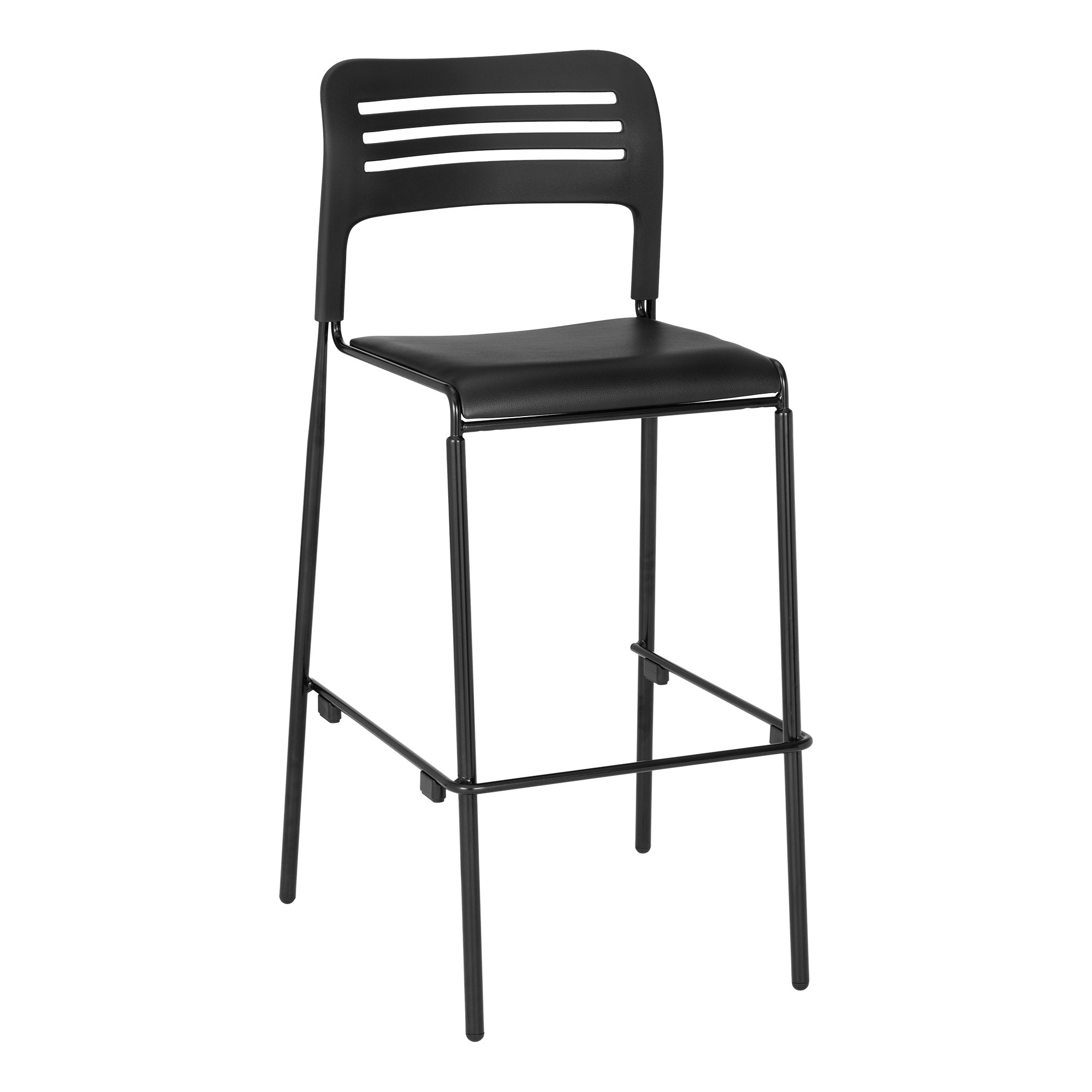 Learniture NOR-EYG1290-SO Bar Height Stackable Chair, Black/Silver (Pack of 2)