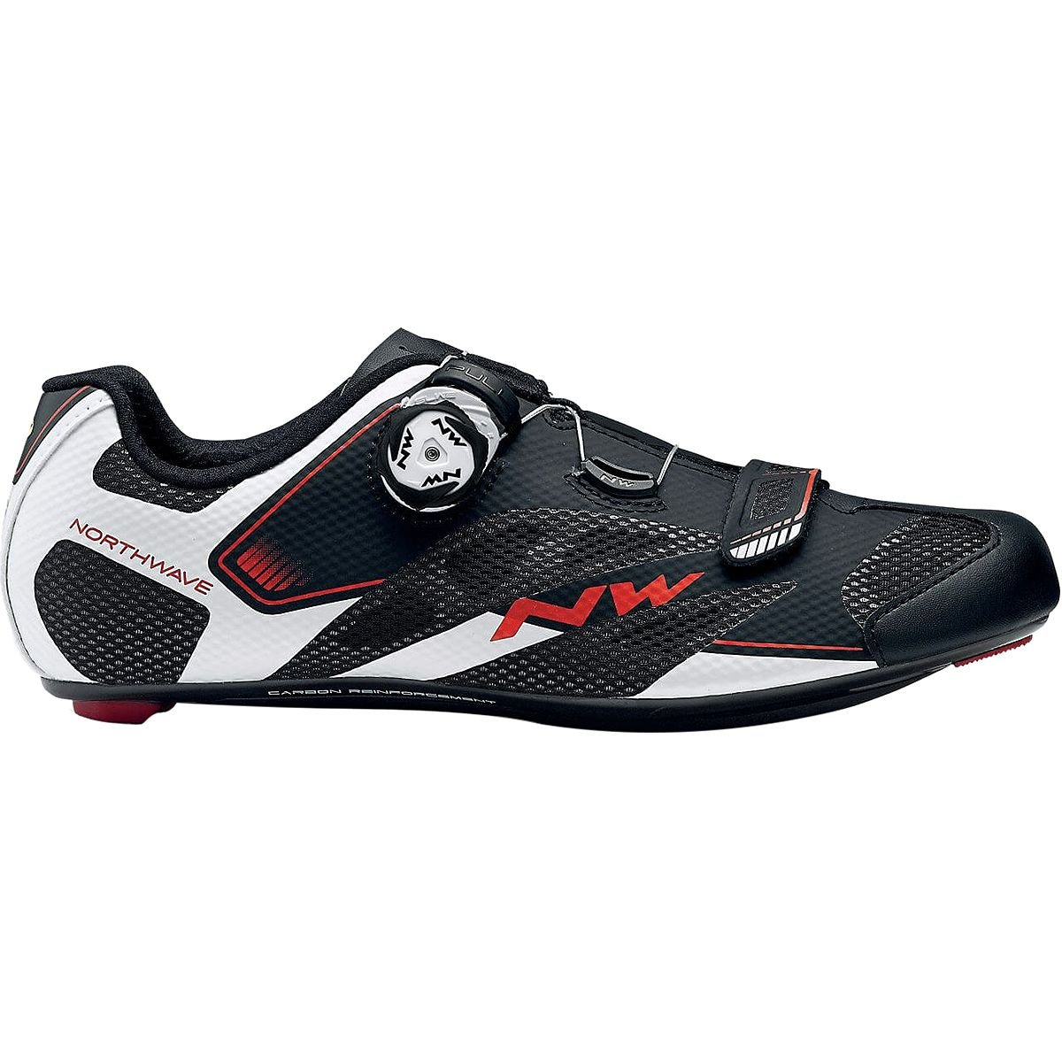 Northwave Sonic 2 Plus Wide Cycling Shoe – Men 'sブラック/ホワイト/レッド42.5   B07BM93L7T