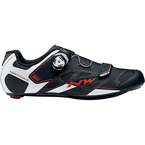 Northwave Sonic 2 Plus Wide Cycling Shoe - Mens Black/White/Red, ...
