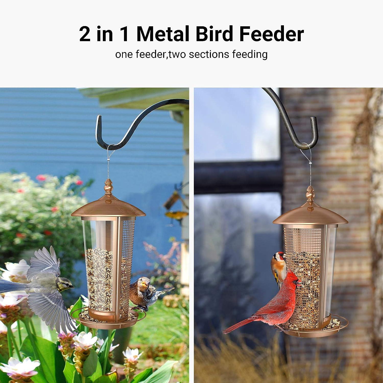 Antique Copper Finish 2 in 1 Wild Bird Feeders for Outside Metal Birdfeeder for Outdoor Sahara Sailor Bird Feeder 2.5 lbs Hanging House Seed Feeder for Garden Yard Outside Decoration