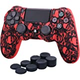 YoRHa Water Transfer Printing Camouflage Silicone Cover Skin Case for Sony PS4/slim/Pro dualshock 4 controller x 1(Pirate Symbol Red) With Pro thumb grips x 8
