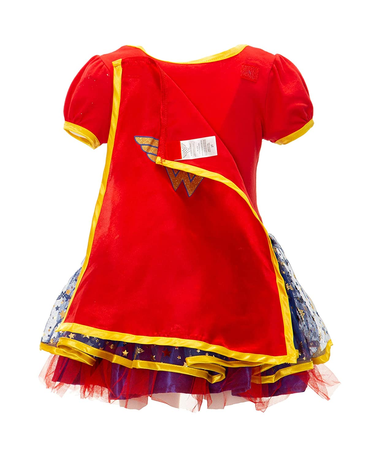 Red Wonder Woman Girls Costume Dress with Gold Tiara Headband and Cape