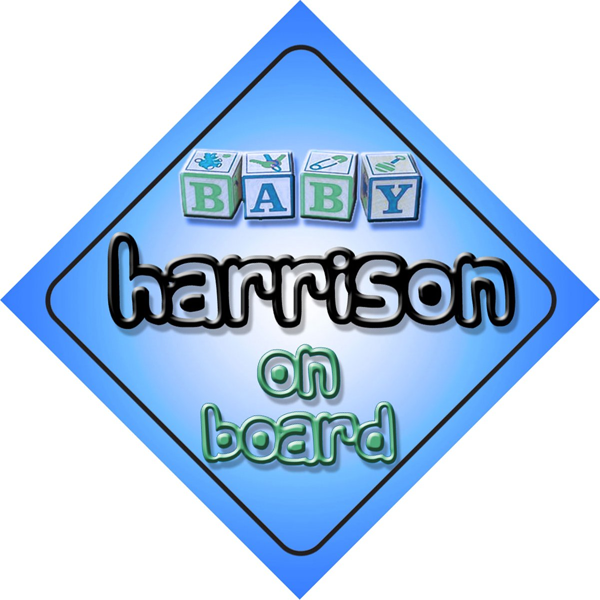 Baby Boy Harrison on board novelty car sign gift / present for new child / newborn baby Quality Goods Ltd