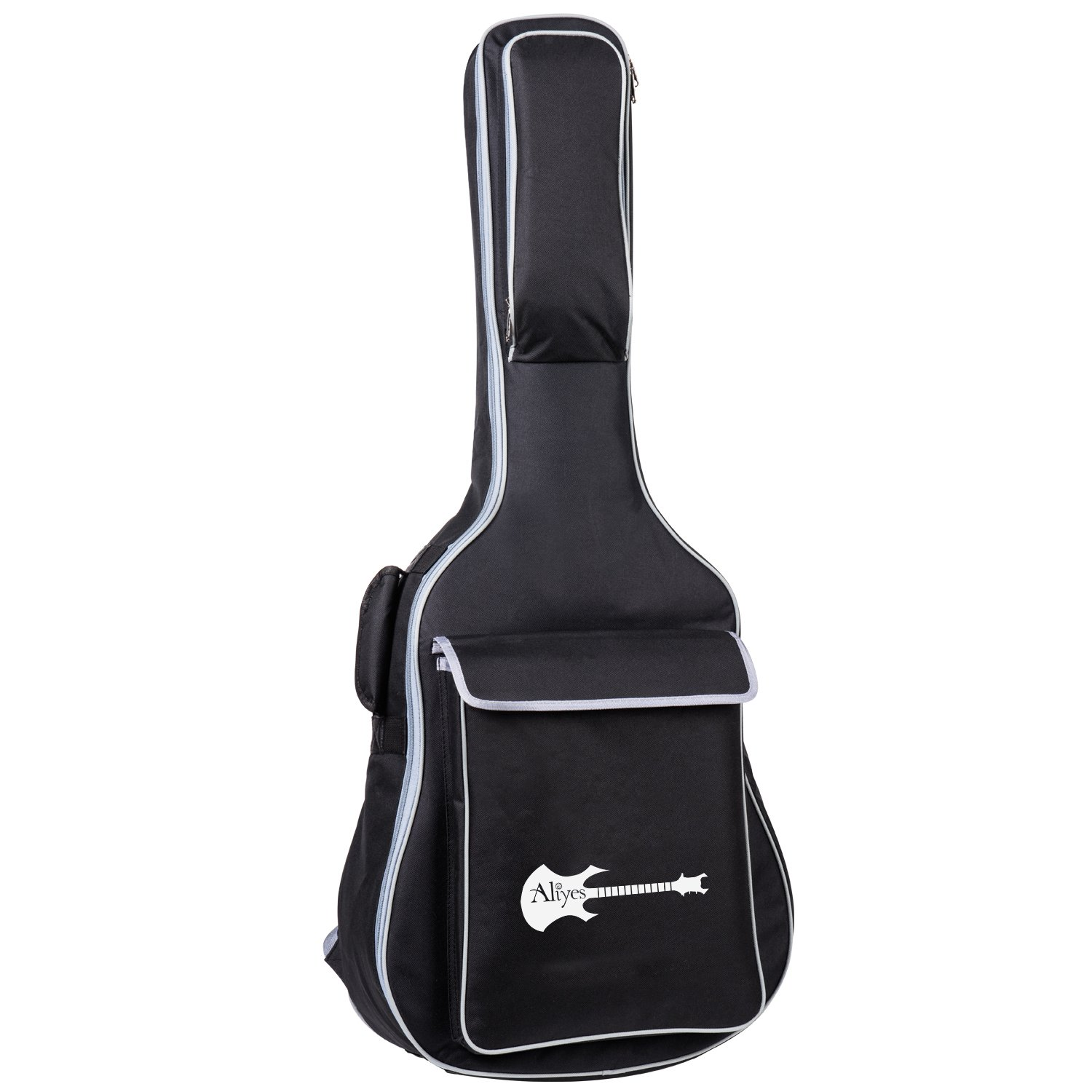 Aliyes Acoustic Class Guitar Gig Bag Full Size Metal Zippers Carrying Bag 41'' Water-Resistant Oxford Fabric 8mm Thick Sponge Padded Adjustable Strap Black