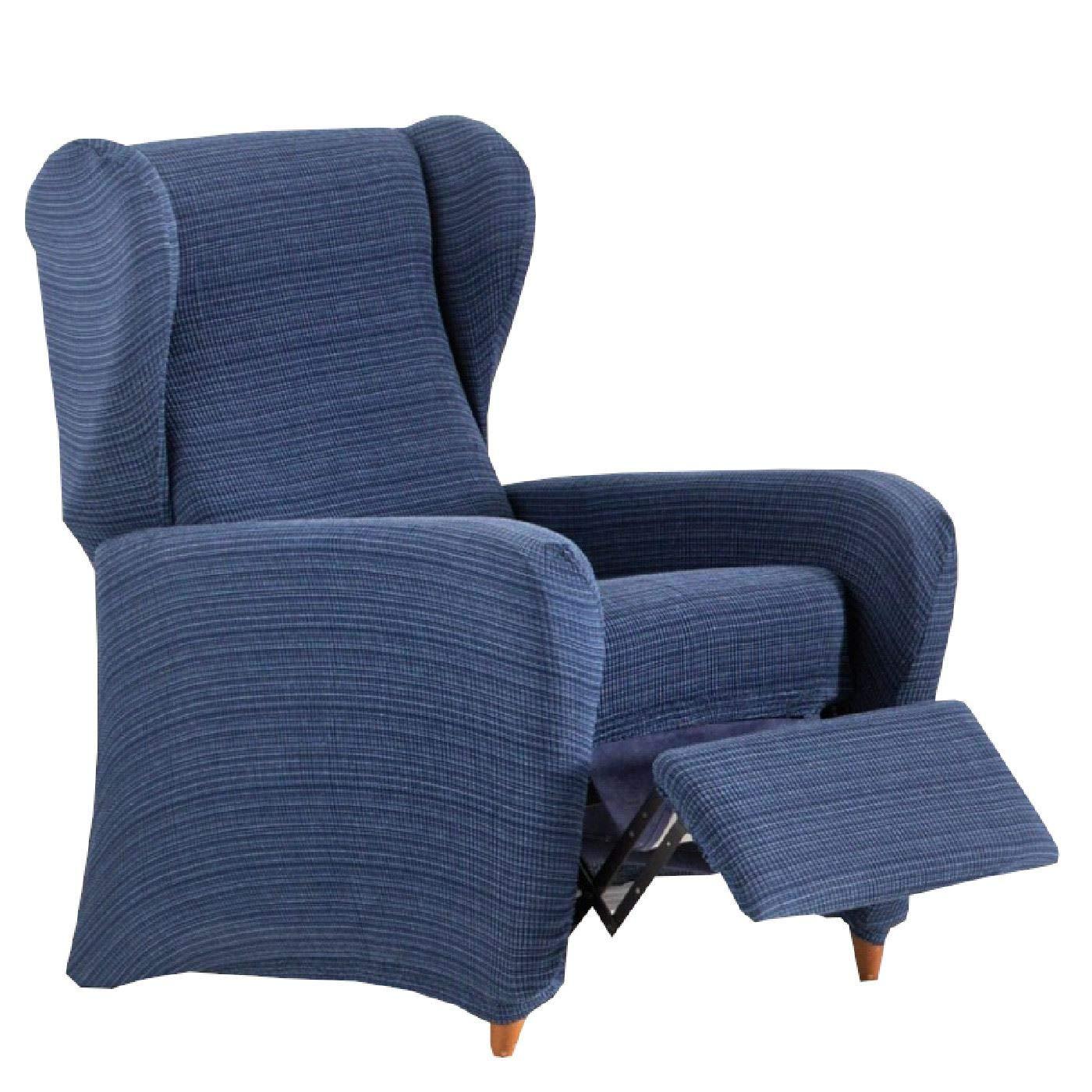 Jarrous Funda de Sillón Relax Elástica Modelo Dionisio, Color Azul-03, Medida 60-75cm de Respaldo