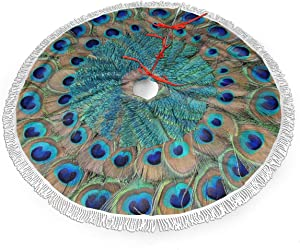 """MSGUIDE Peacock Feather Circle Christmas Tree Skirt 48"""" Large Halloween Xmas Tree Decor for Holiday Party Decor Christmas Decoration"""