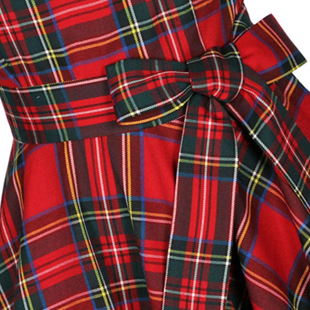 24a27fd27d 50s Vestidos Vintage Elegante Ceremonia de Boda Fiesta Mujer Vestido Retro  Escocés Plaid Vestido sin mangas de la vendimia  Amazon.es  Ropa y  accesorios