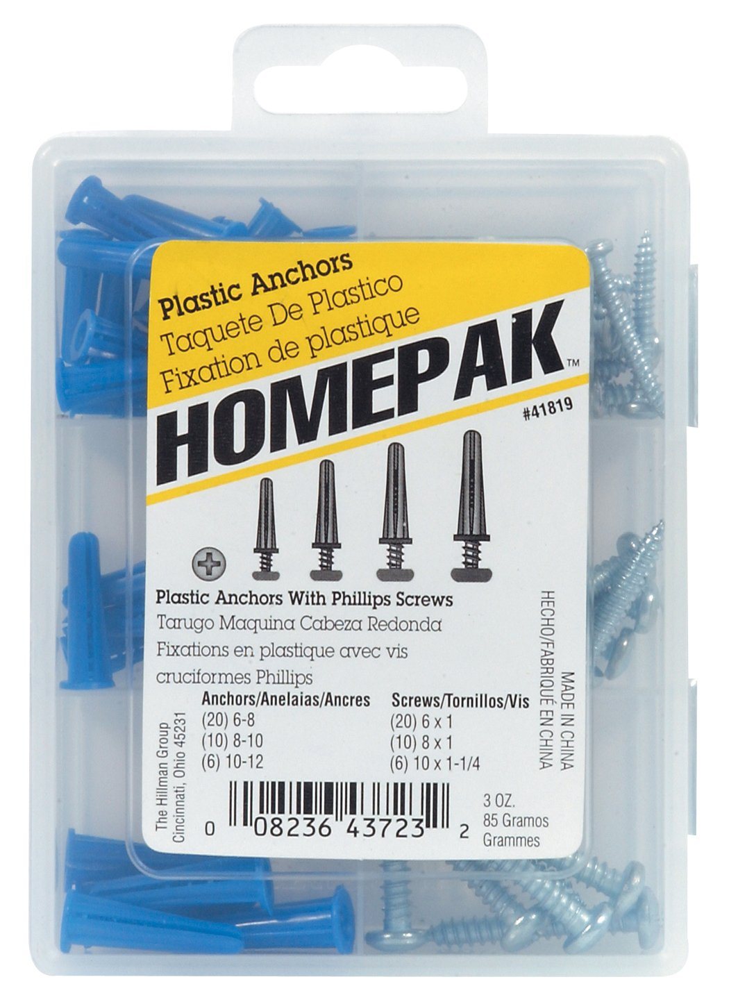 HOMEPAK 41819 Plastic Anchors with Screws The Hillman Group