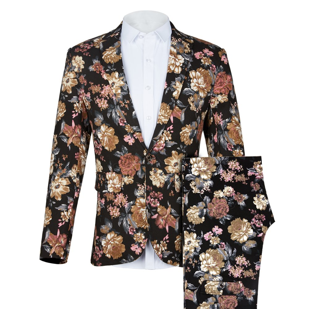41ff4765ba0a You will the hit inthe party or the crowd when you wear this fashion suit. Suit  Jacket Coat:Floral Printed Single Breasted One Button Closure, ...