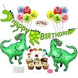 Mattelsen Decoración de Cumpleaños Dinosaurios 3D Happy Birthday Banner, Globos Helio Gigante con Látex Globos