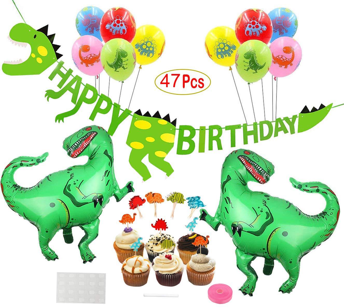 Mattelsen Decoración de Cumpleaños Dinosaurios 3D Happy Birthday Banner, Globos Helio Gigante con Látex Globos y Toppers de Magdalena de Dinosaurio ...