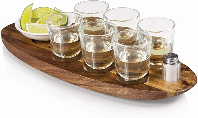 6 Shot Glasses tray for pubs /& bars GREY Shot Glass Serving Tray