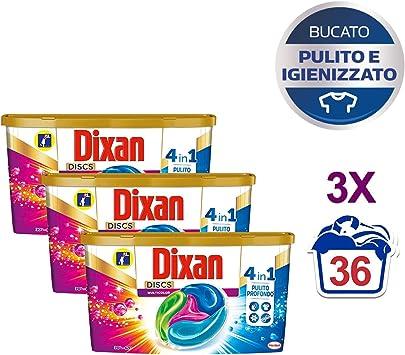 Dixan Discs Detergente Lavadora Cápsulas, 3 x 36 lavados – 108 ...