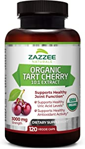 Zazzee USDA Organic Tart Cherry Extract, 120 Count, Vegan, 3000 mg Strength, Potent 10:1 Extract, USDA Certified Organic, Non-GMO and All-Natural