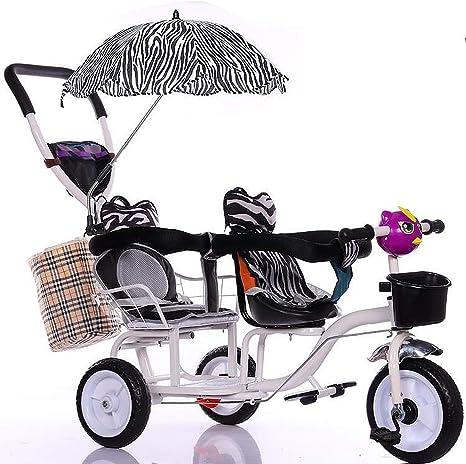Bicicleta Triciclo Doble para Niños, Cochecito De Bebé Doble con ...
