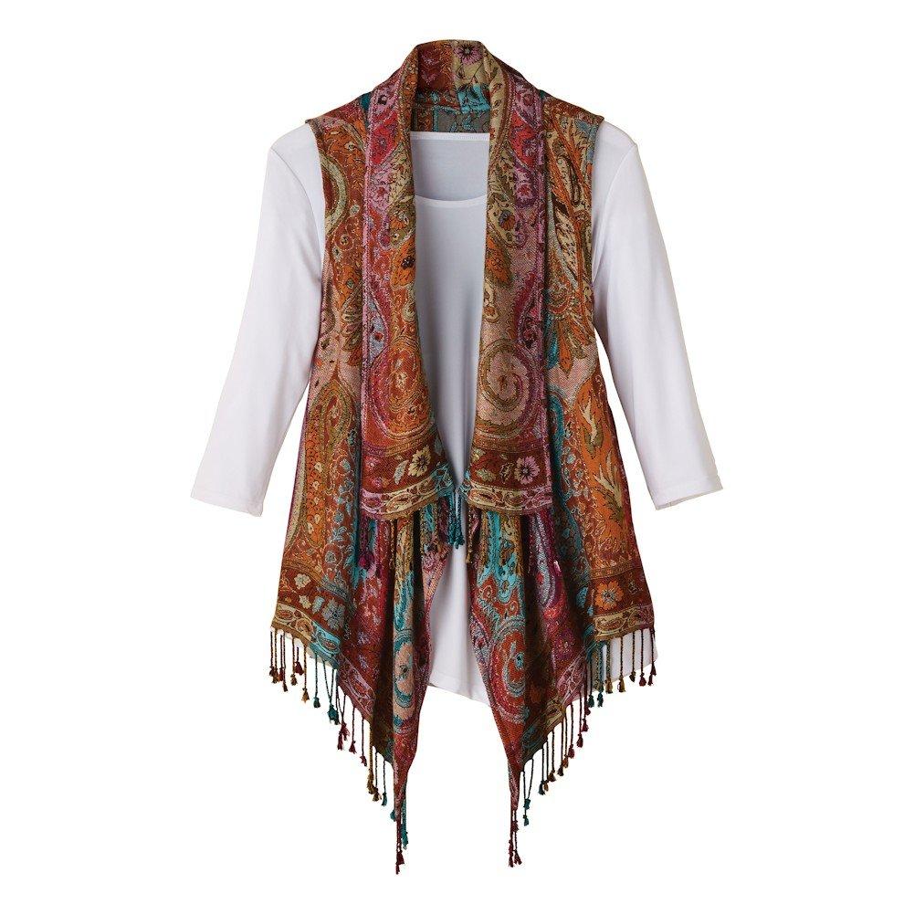 CATALOG CLASSICS Women's Lisbon Reversible Fringed Vest - XL