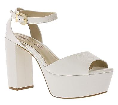 Buffalo Schuhe Echtleder High Heels Plateau Absatzschuhe Weiß