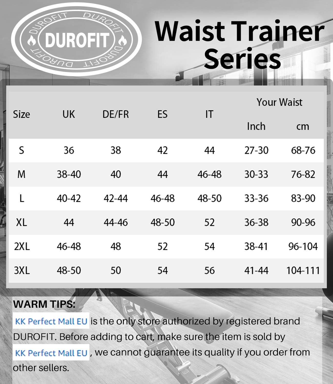 DUROFIT Taillenmieder Neopren Taillentrimmer Schwitzg/ürtel Gewichtsverlust Taillenformer Fitnessg/ürtel Sport Korsett mit Saunaeffekt Bauchwegg/ürtel Waist Cincher Slimming Sweat Belt Waist Trainer