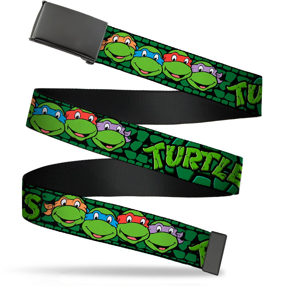 """Nickelodeon Big Buckle-Down Web Belt Ninja 1.0"""", Classic TMNT Group Faces Turtle Shell Black/Green, Wide-Fits up to Kids Size 20"""