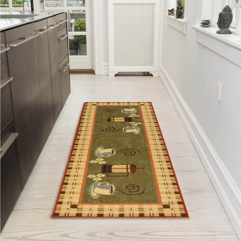 "Ottomanson Siesta Collection Kitchen Coffee Cups Design (Non-Slip) Runner Rug, 20"" x 59"", Dark Olive Green"