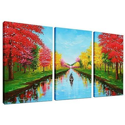 Amazon.com: JoyArt - Red Trees Painting 4 Seasons Canvas Prints ...