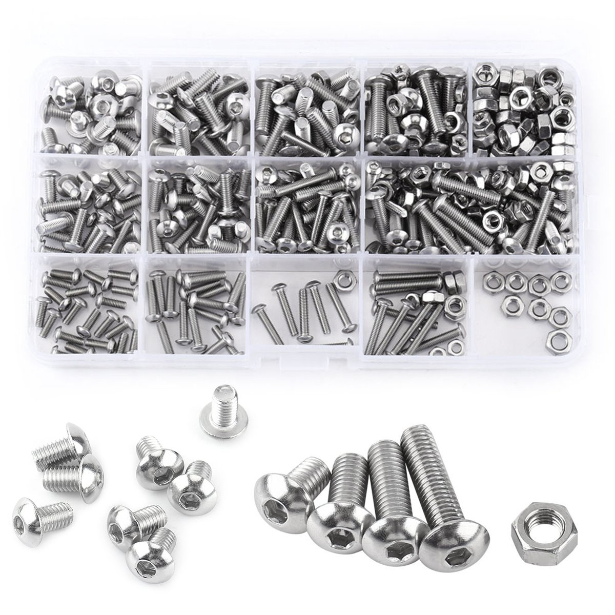 M3 M4 M5 Hex Socket Screws 304 Stainless Steel Button Head Bolts Nuts Assortment Kit Set,Pack of 440