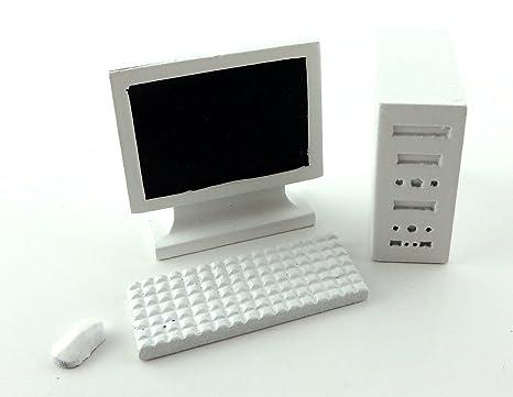 Maison de poupées blanc ordinateur pc 1:12 moderne miniature bureau