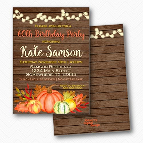 Rustic Fall Pumpkin Birthday Party Invitations Envelopes Included