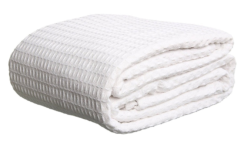 Bella Kline - Premium 100% Soft Cotton Thermal Blanket - Snuggle in these Super Soft Cozy Cotton Blankets - Waffle Design - Queen White