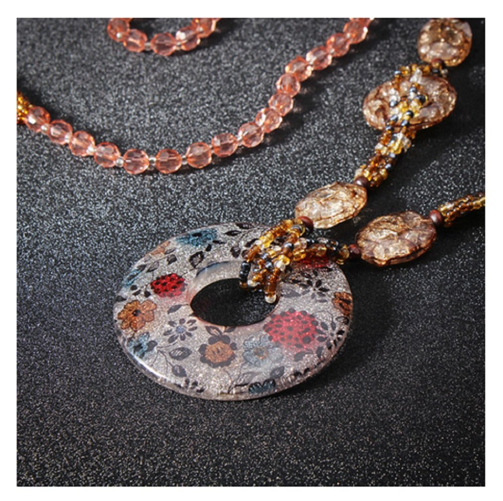 #6 Water Drop Glitter Acrylic Pendant Necklace Long Beads Chain by 24/7 store