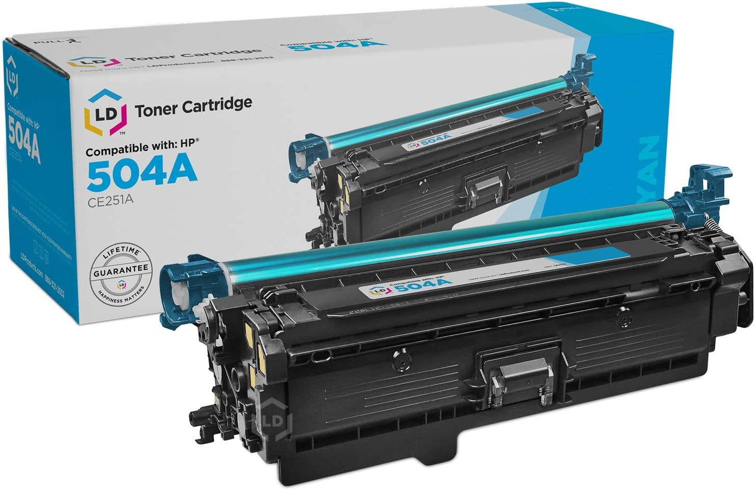LD Remanufactured Toner Cartridge Replacement for HP 504A CE251A (Cyan)