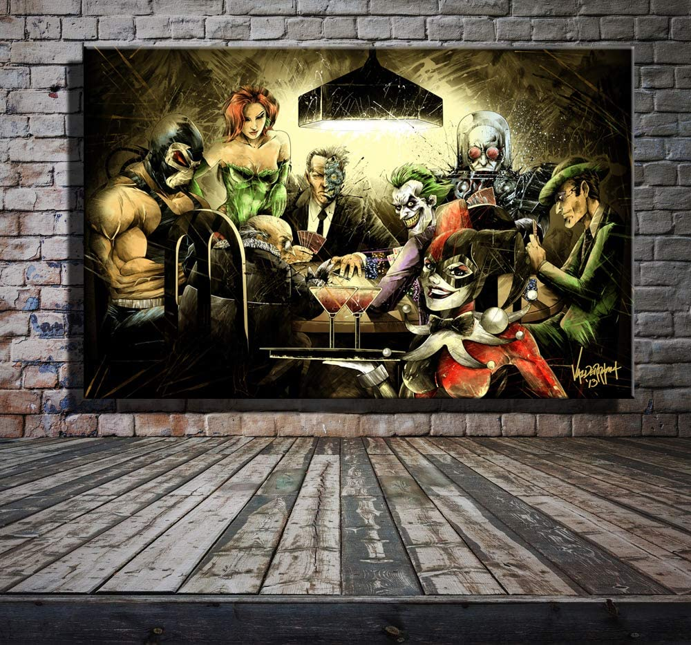 Art Oil Painting Print On Canvas Home Decor The Joker And Harley Quinn  Framed