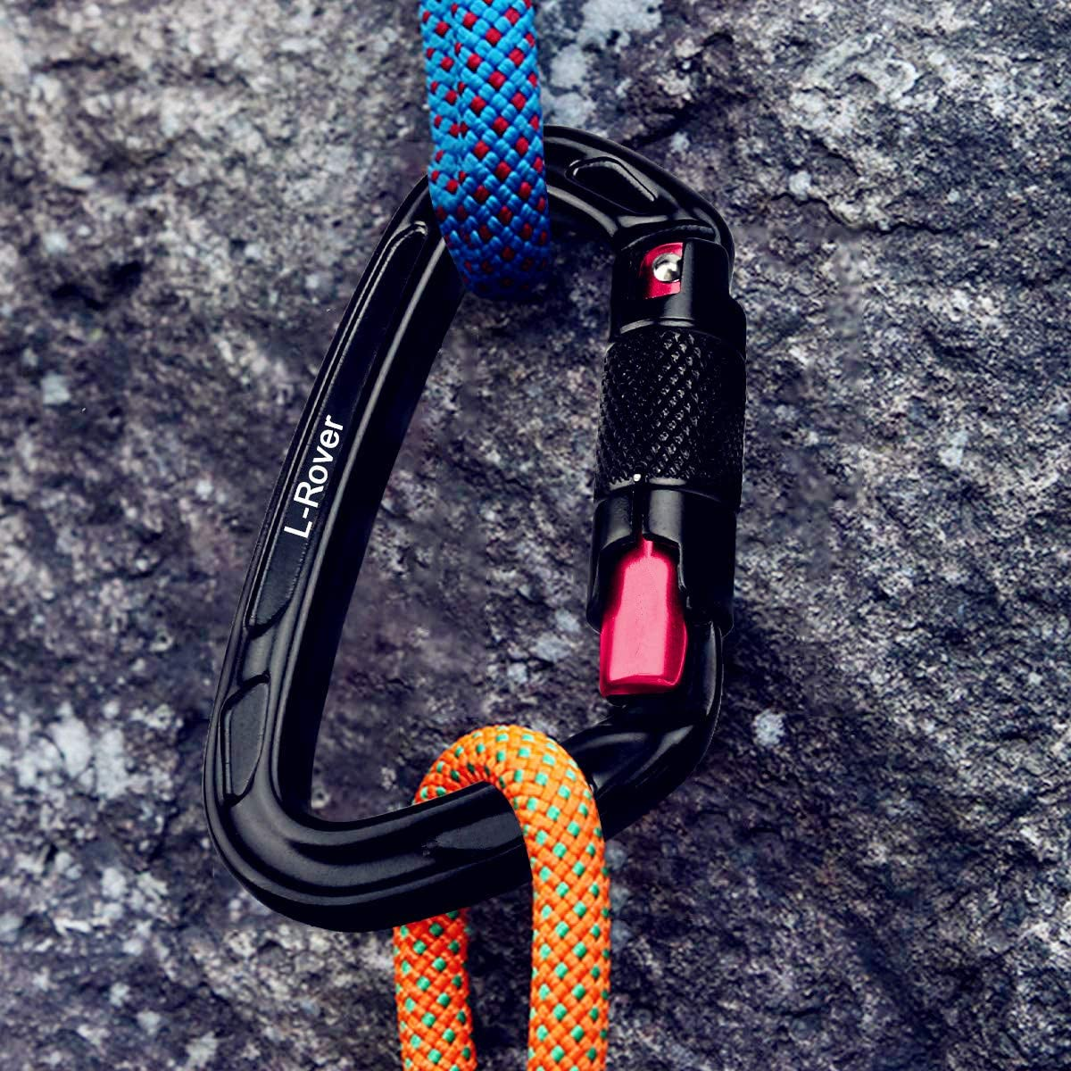 x2//24kN//5400-pound Rating for Hammocks Auto Locking and Heavy Duty Caribeaners L-Rover Ultra Sturdy Twist Lock Climbing Carabiner Clips Rappelling,Working Safely at Height,Camping,Large Size