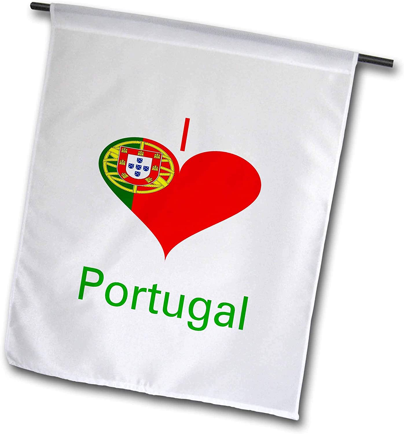 3dRose Lens Art by Florene - Coat of Arms in Heart - Image of I Love Portugal in Coat of Arms Heart - 12 x 18 inch Garden Flag (fl_304502_1)
