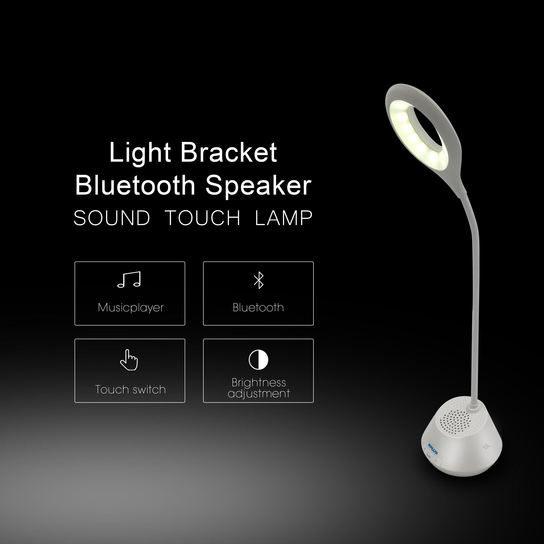 XPLUS Portable Rechargeable LED Desk Lamp & Bluetooth Wireless Speaker With Adjustable Brightness,Flexible Folding Design, Smart Music, Eye Care Reading Light