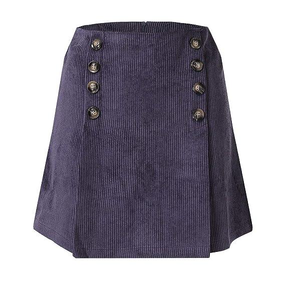 Falda Mini Cortas con Botón de Doble Fila de Pana Cintura Alta A ...
