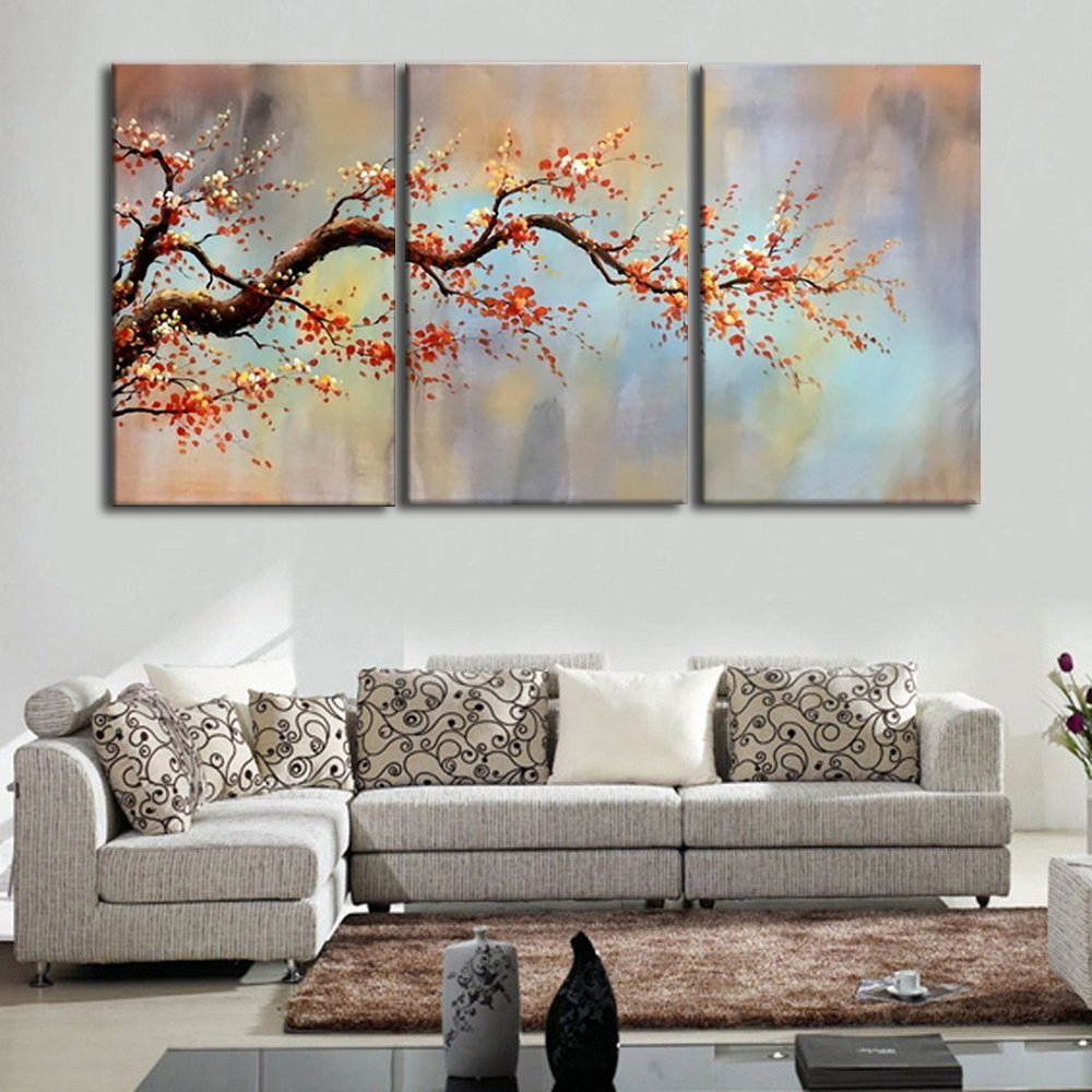 Plum Blossom Oil Paintings on Canvas 3 Piece Handmade Extra Large Artwork Home Decor Modern Wall Art Tree Pictures for Living Room Bedroom, Gallery-Wrap Framed Stretched Ready to Hang(72''Wx36''H)