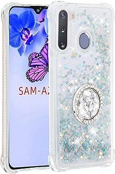 FAWUMAN Funda Samsung Galaxy A21 TPU Silicona Purpurina Carcasa,Funda para teléfono móvil de Arena movediza líquida en con Base de Anillo de Diamantes (Plata): Amazon.es: Electrónica