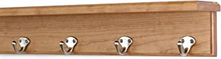 """product image for PegandRail Solid Cherry Shelf Coat Rack with Satin Nickel Single Style Hooks (Cherry, 21"""" with 4 Hooks)"""
