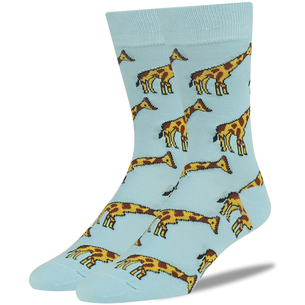Novelty Gift Sock, SUTTOS Men's Women's Luxury Fashion Giraffe Zoo Animal Themed Soft Combed Cotton Warm Blue Casual Fun Father's Day Giftky Crew Dress Socks Gift Sock,2 Pairs