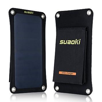 SUAOKI - 7W Cargador Panel Solar Placa Solar (Alta Eficiencia, Portátil, para Móviles, Tablets, Dispositivos Digitales) Negro
